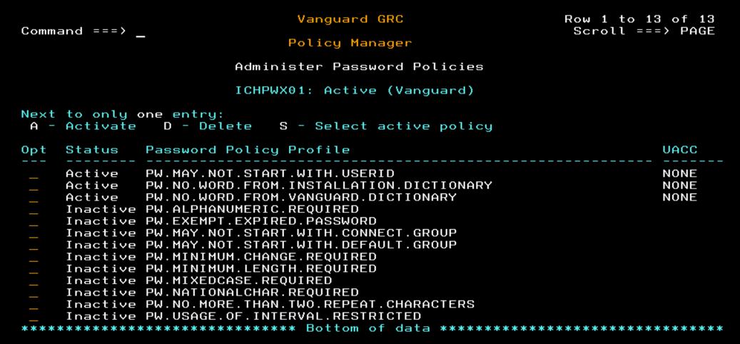 パスワードルールを有効化するパネル